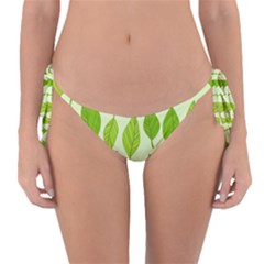 Autumn Background Boxes Green Leaf Reversible Bikini Bottom by Wegoenart