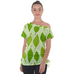 Autumn Background Boxes Green Leaf Tie Up Tee by Wegoenart