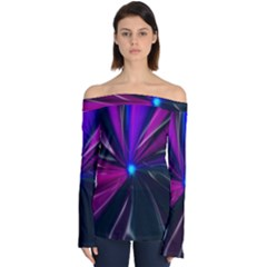 Abstract Background Lightning Off Shoulder Long Sleeve Top
