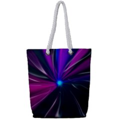 Abstract Background Lightning Full Print Rope Handle Tote (small)