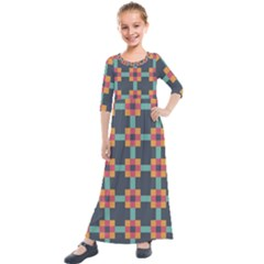 Art Vintage Background Abstract Kids  Quarter Sleeve Maxi Dress by Wegoenart