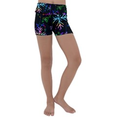 Snowflakes Snow Winter Christmas Kids  Lightweight Velour Yoga Shorts