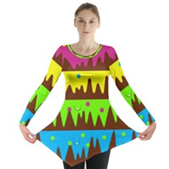 Illustration Abstract Graphic Long Sleeve Tunic