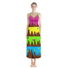 Illustration Abstract Graphic Button Up Chiffon Maxi Dress by Wegoenart