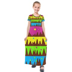 Illustration Abstract Graphic Kids  Short Sleeve Maxi Dress by Wegoenart