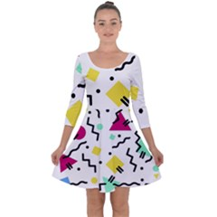 Background Abstract Art Quarter Sleeve Skater Dress