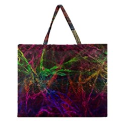 Background Abstract Cubes Square Zipper Large Tote Bag