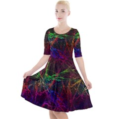 Background Abstract Cubes Square Quarter Sleeve A Line Dress