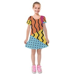 Background Abstract Memphis Kids  Short Sleeve Velvet Dress by Wegoenart