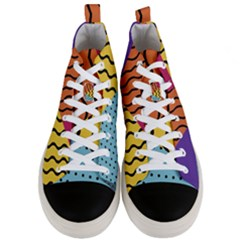Background Abstract Memphis Men s Mid Top Canvas Sneakers