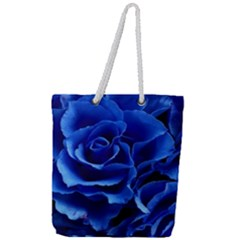 Blue Roses Flowers Plant Romance Full Print Rope Handle Tote (large) by Wegoenart