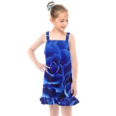 Blue Roses Flowers Plant Romance Kids  Overall Dress by Wegoenart