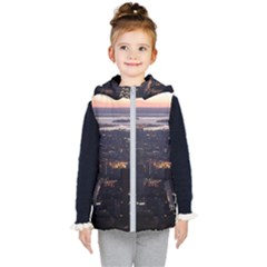 New York Manhattan Evening Dusk Kids  Hooded Puffer Vest by Wegoenart