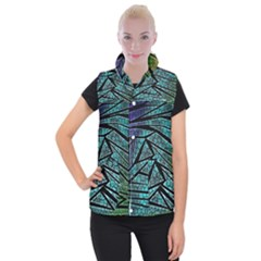 Abstract Background Rainbow Metal Women s Button Up Vest