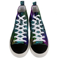 Abstract Background Rainbow Metal Men s Mid Top Canvas Sneakers