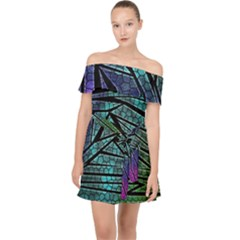 Abstract Background Rainbow Metal Off Shoulder Chiffon Dress