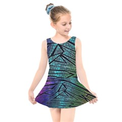 Abstract Background Rainbow Metal Kids  Skater Dress Swimsuit