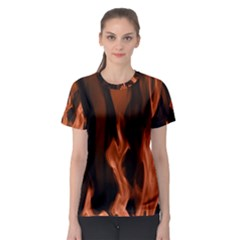 Smoke Flame Abstract Orange Red Women s Sport Mesh Tee