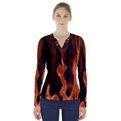 Smoke Flame Abstract Orange Red V Neck Long Sleeve Top