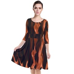 Smoke Flame Abstract Orange Red Quarter Sleeve Waist Band Dress