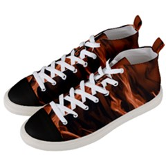 Smoke Flame Abstract Orange Red Men s Mid-top Canvas Sneakers by Wegoenart