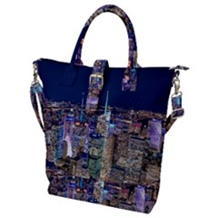 New York Manhattan Night Building Buckle Top Tote Bag
