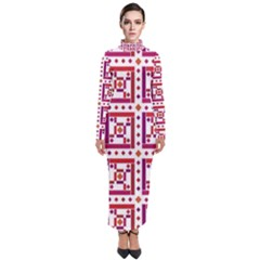 Background Abstract Square Turtleneck Maxi Dress by Wegoenart