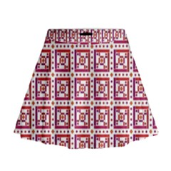 Background Abstract Square Mini Flare Skirt