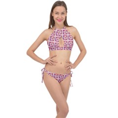 Background Abstract Square Cross Front Halter Bikini Set