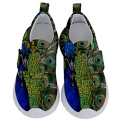 Peacock Close Up Plumage Bird Head Kids  Velcro No Lace Shoes