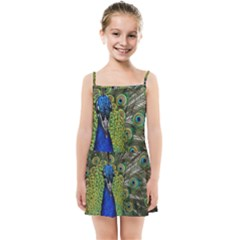 Peacock Close Up Plumage Bird Head Kids  Summer Sun Dress
