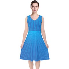 Blue Rays Background Image V Neck Midi Sleeveless Dress