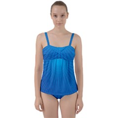 Blue Rays Background Image Twist Front Tankini Set