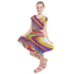 Soap Bubble Color Colorful Kids  Short Sleeve Dress by Wegoenart