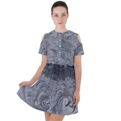 Abstract Ice Frost Crystals Frozen Short Sleeve Shoulder Cut Out Dress