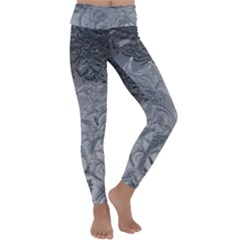 Abstract Ice Frost Crystals Frozen Kids  Lightweight Velour Classic Yoga Leggings