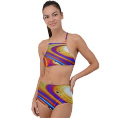 Abstract Architecture Background High Waist Tankini Set