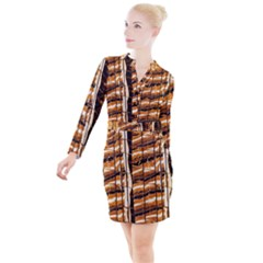 Abstract Architecture Background Button Long Sleeve Dress