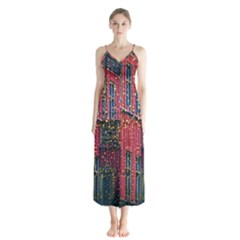 Lichterkette Christmas Decorations Button Up Chiffon Maxi Dress