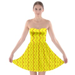 Yellow Background Abstract Strapless Bra Top Dress