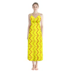 Yellow Background Abstract Button Up Chiffon Maxi Dress by Wegoenart