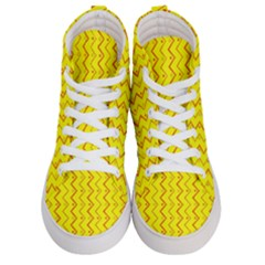 Yellow Background Abstract Women s Hi Top Skate Sneakers