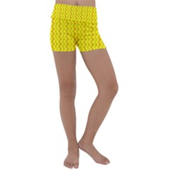 Yellow Background Abstract Kids  Lightweight Velour Yoga Shorts