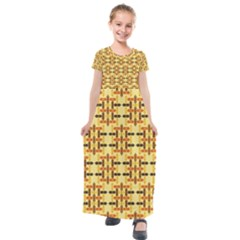 Abstract Background Vintage Kids  Short Sleeve Maxi Dress