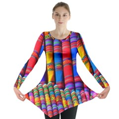 Substances Colorful Towels Scarf Long Sleeve Tunic  by Wegoenart