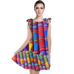 Substances Colorful Towels Scarf Tie Up Tunic Dress