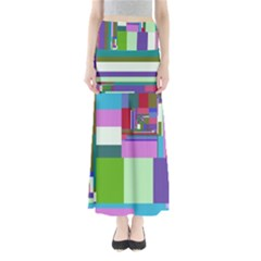Fractal Gradient Colorful Infinity Art Full Length Maxi Skirt