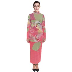 Fractal Gradient Colorful Infinity Turtleneck Maxi Dress