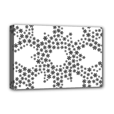 Snowflake Silhouette Fractal Deluxe Canvas 18  X 12  (stretched)