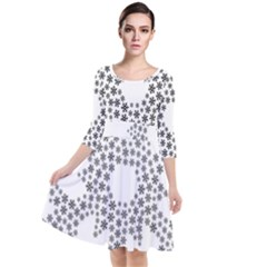 Snowflake Silhouette Fractal Quarter Sleeve Waist Band Dress
